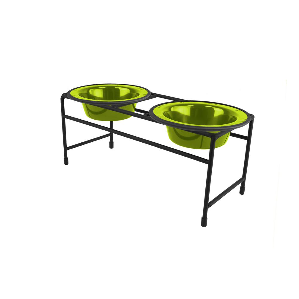 .75 Cup Modern Double Diner Feeder with Cat/Puppy Bowls, Corona Lime