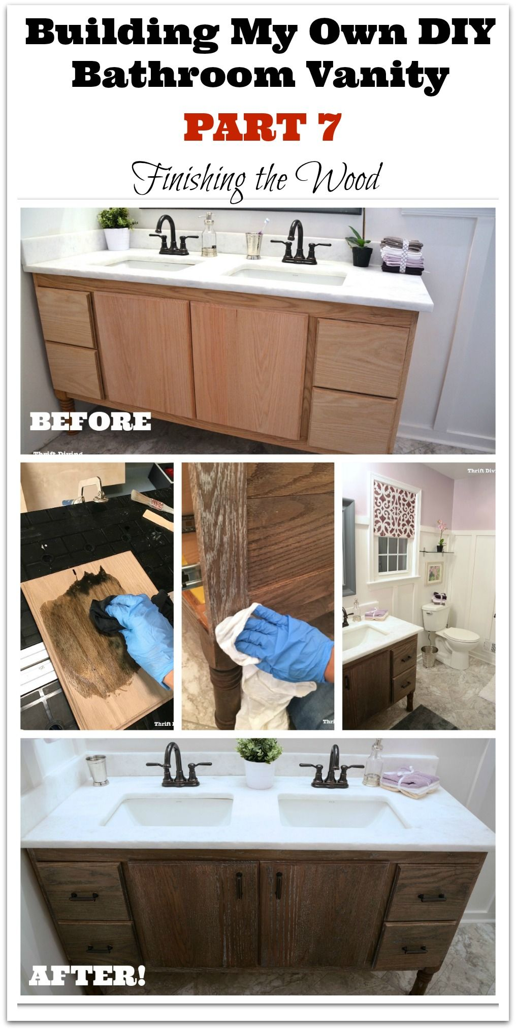 "I built my own 60"" DIY bathroom vanity! The final step in this 7-part series was figuring out how to finish the oak, to highlight and accent the grain in white (otherwise known as cerused oak). See how I created this unique look for my clean, modern master bathroom makeover! - Thrift Diving"