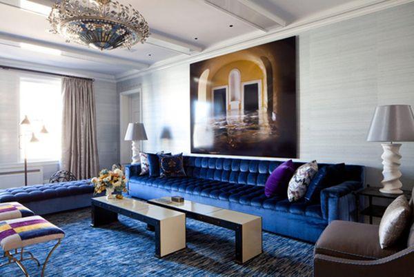 Extra Long Navy Silk / Velvet Tufted Sofa