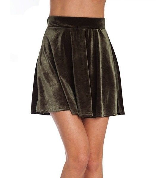 8f6dc6260d8b Sexy shiny Green Velour Skate Wide Mini Skirt L New Glam Stretchy Pull on  Waist #KToo #Mini