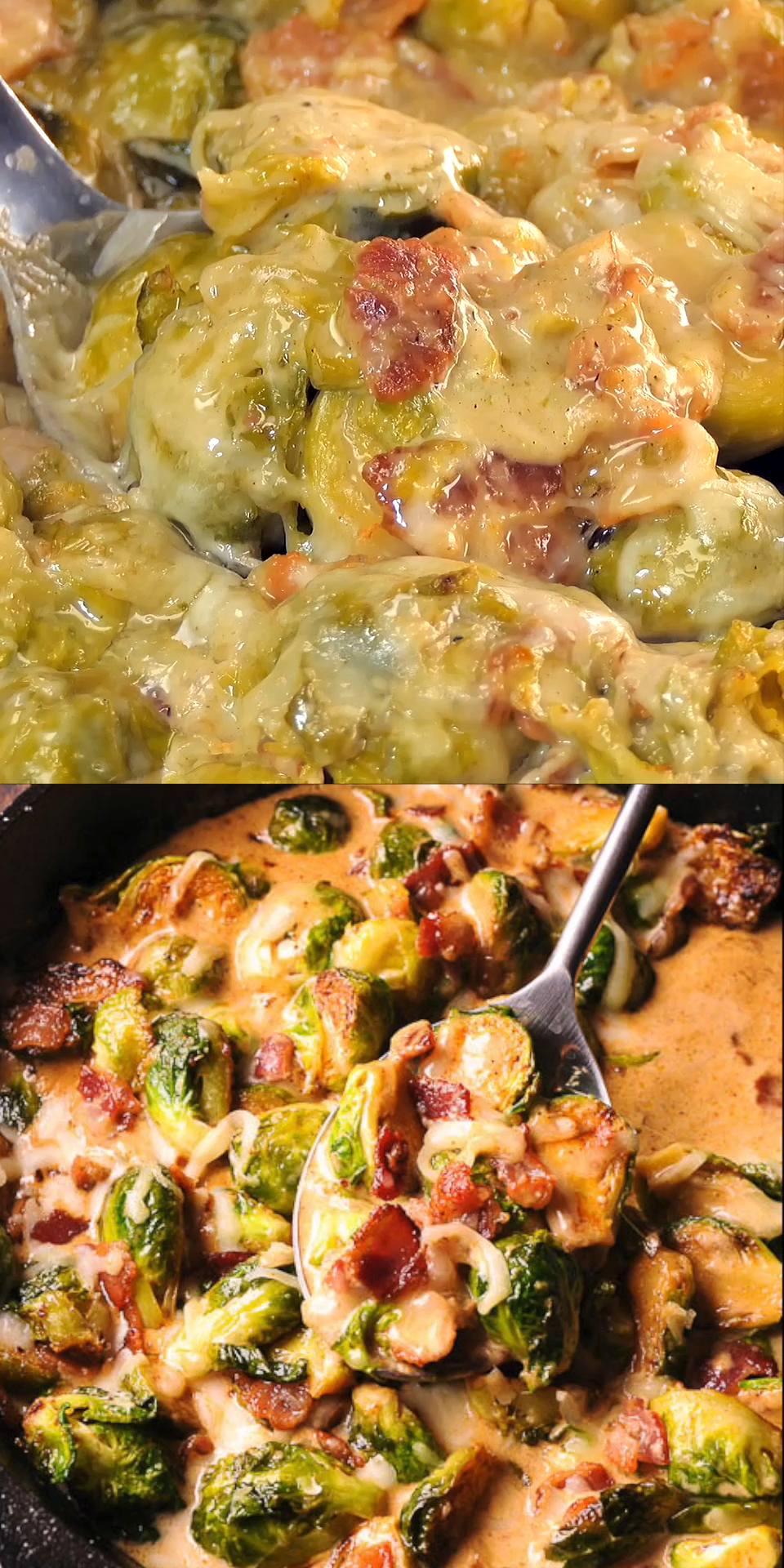 Creamy Bacon Brussels Sprouts with Mozzarella
