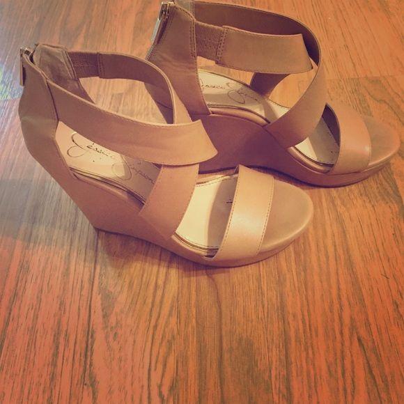 Wedges Nude Jessica Simpson wedges--zipper along back--worn once. Jessica Simpson Shoes Wedges