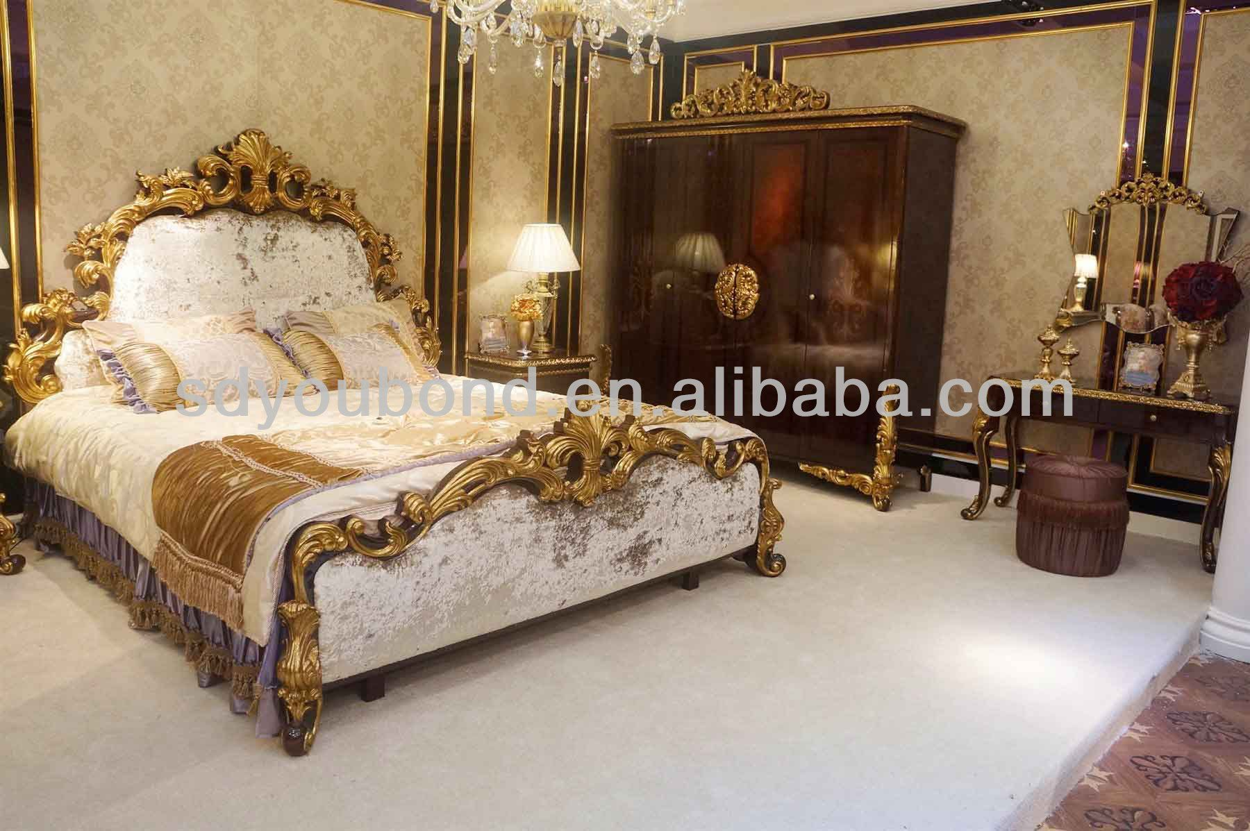 Classic european bedroom furniture - 0063 High End Middle East Royal Palace Funiture Wooden Carved Classic Luxury Home Furniture