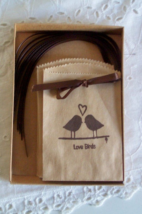 Bird seed can be packaged up on printed brown paper bags for wedding guests to take home as their favour