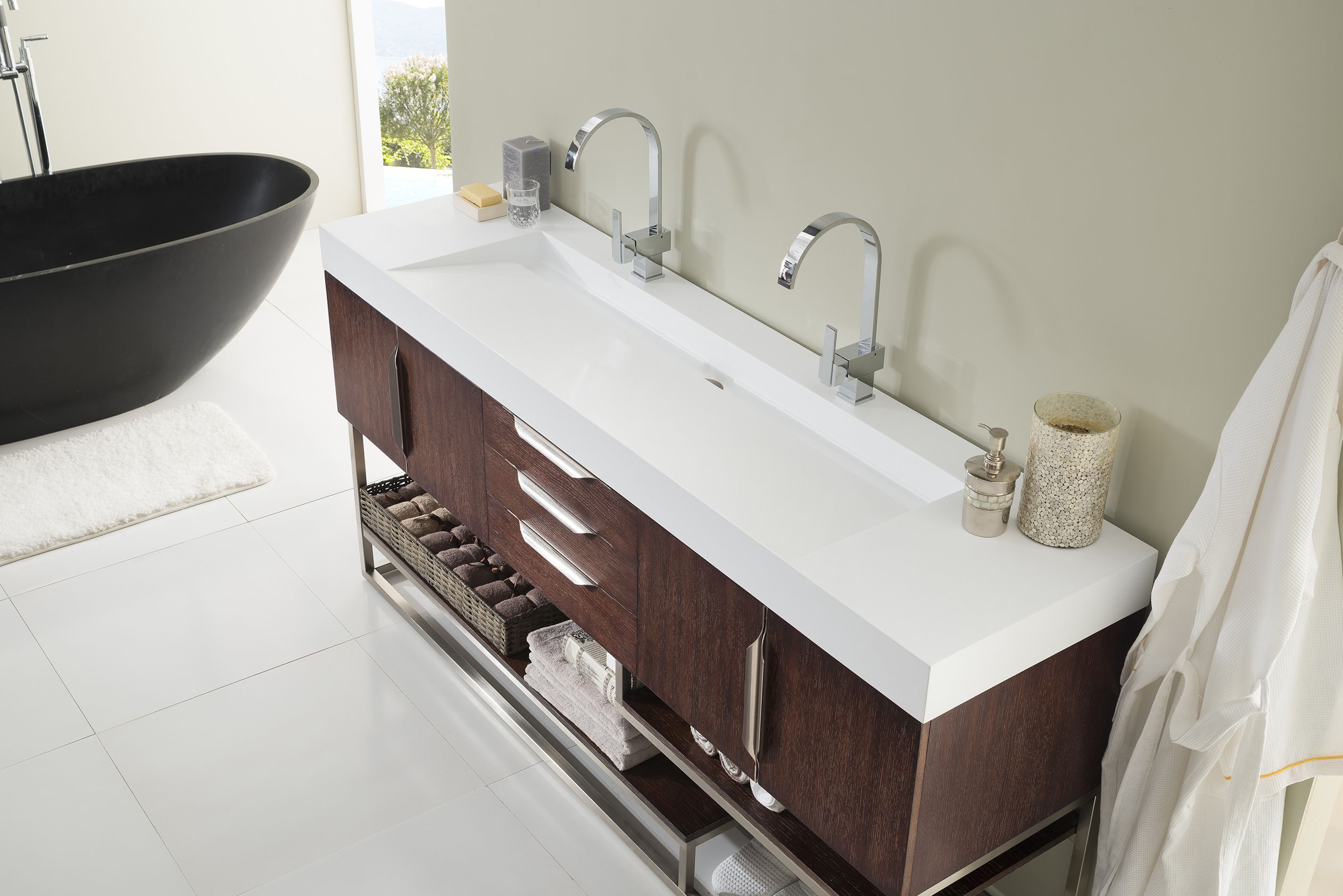 Columbia 72 Double Sink Bathroom Vanity Cabinet Coffee Oak