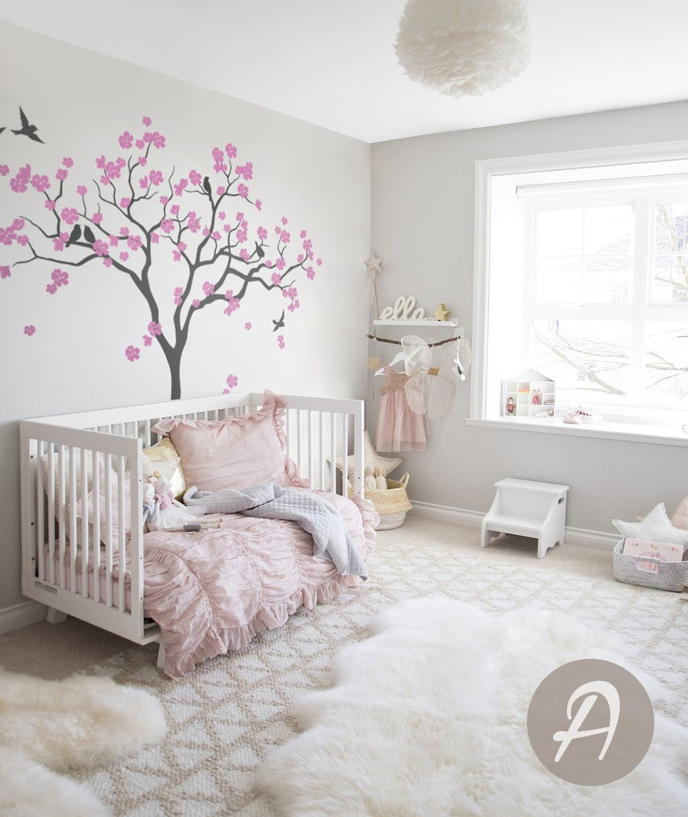 Nursery tree wall decal Large tree wall decal Tree with birds decal Wall mural sticker Kids room wall art Nursery tree wall sticker -AM021