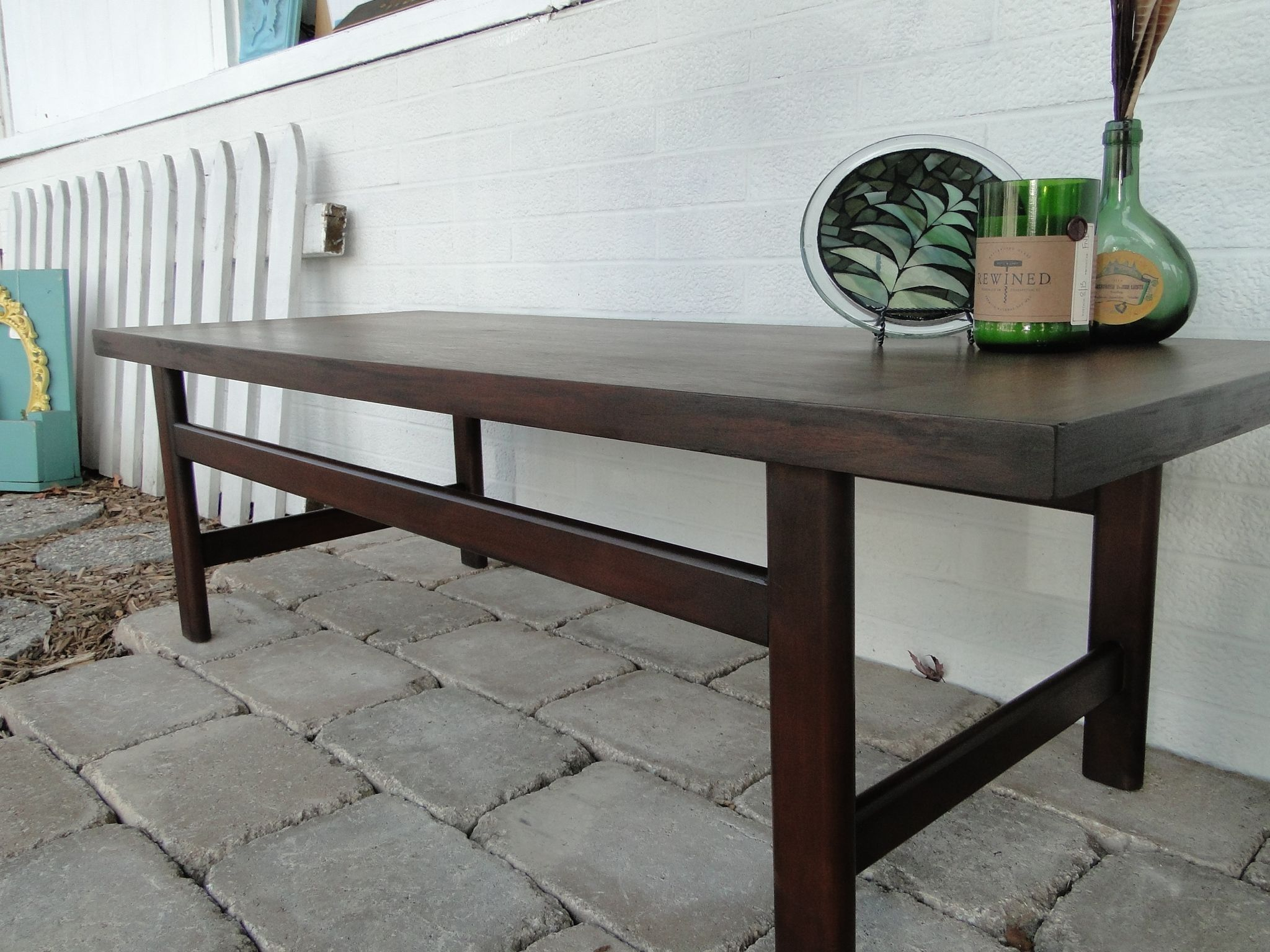 Refinished Solid wood coffee table dark stain beautiful wood grain