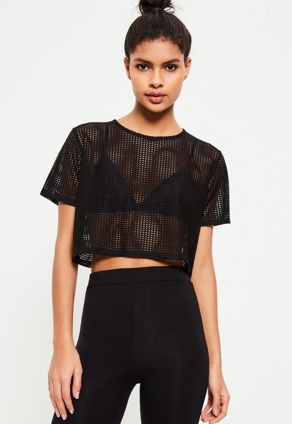 ab7aa1cc98189 Active Black Fishnet Cropped Sports Top - Missguided