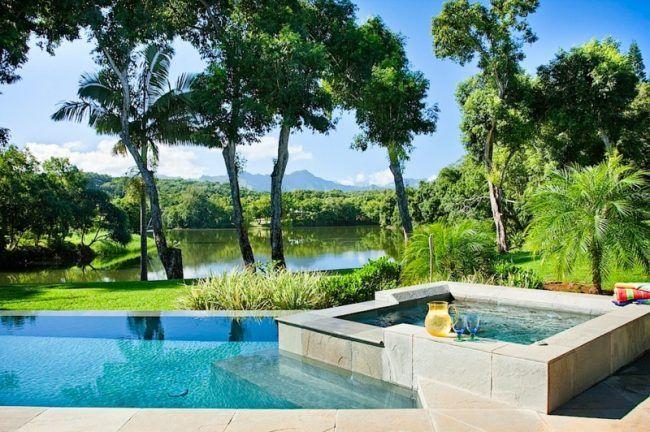 whirlpool im garten pool design tropisch atmosphaere palmen see - whirlpool im garten