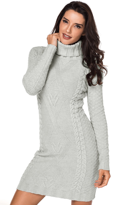 Grey Stylish Pattern Knit Turtleneck Sweater Dress in 2019  2e2ad47660