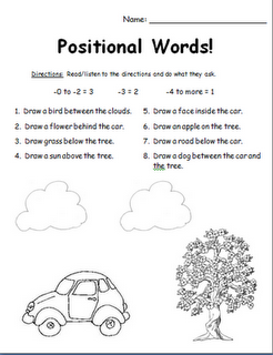 positional words assessment can change the words to other positional