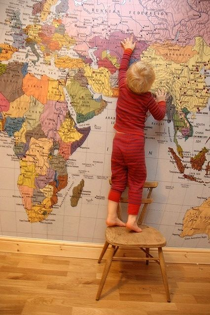 World map mural future living arrangements pinterest i love this look in kids bedrooms stylish and educational world map mural on one playroom wall blue oceans gumiabroncs Gallery