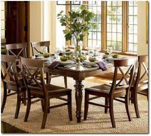 Pottery Barn Montego Turned Leg Square Table Dining Room