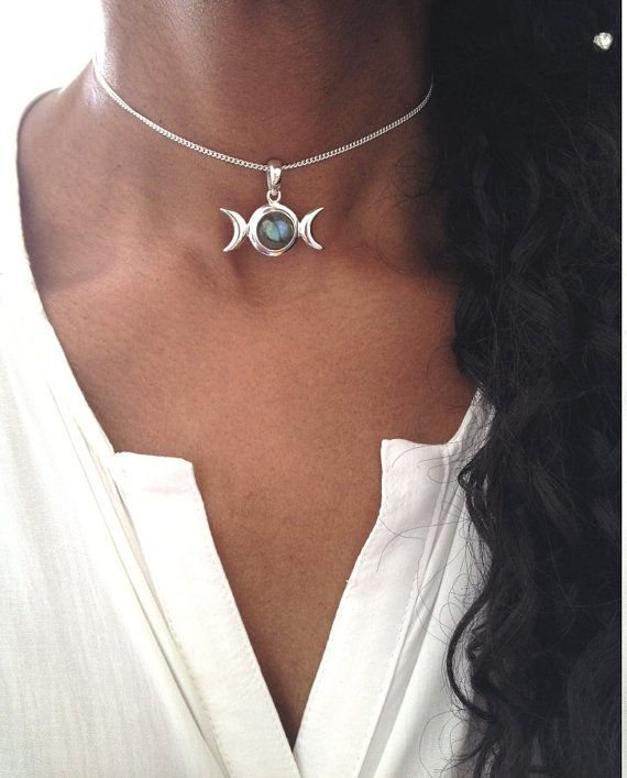 silver Moon Necklace Moon Phase Necklace Moon Jewelry celestial jewelry Triple moon  Necklace Wiccan Jewelry Moon Goddess pendant