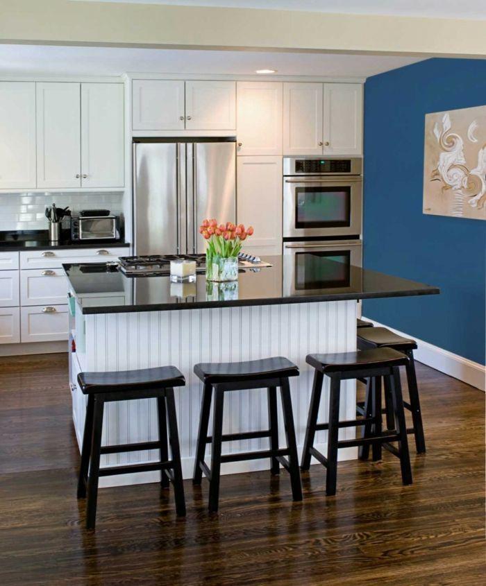 wandfarbe küche blaue akzentwand weiße wände kücheninsel Küche - kche wandfarben