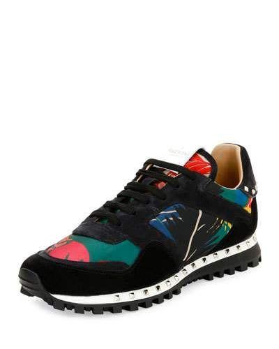 VALENTINO Tropical Nylon & Suede Trainer Sneaker, Multicolor. #valentino #shoes #sneakers