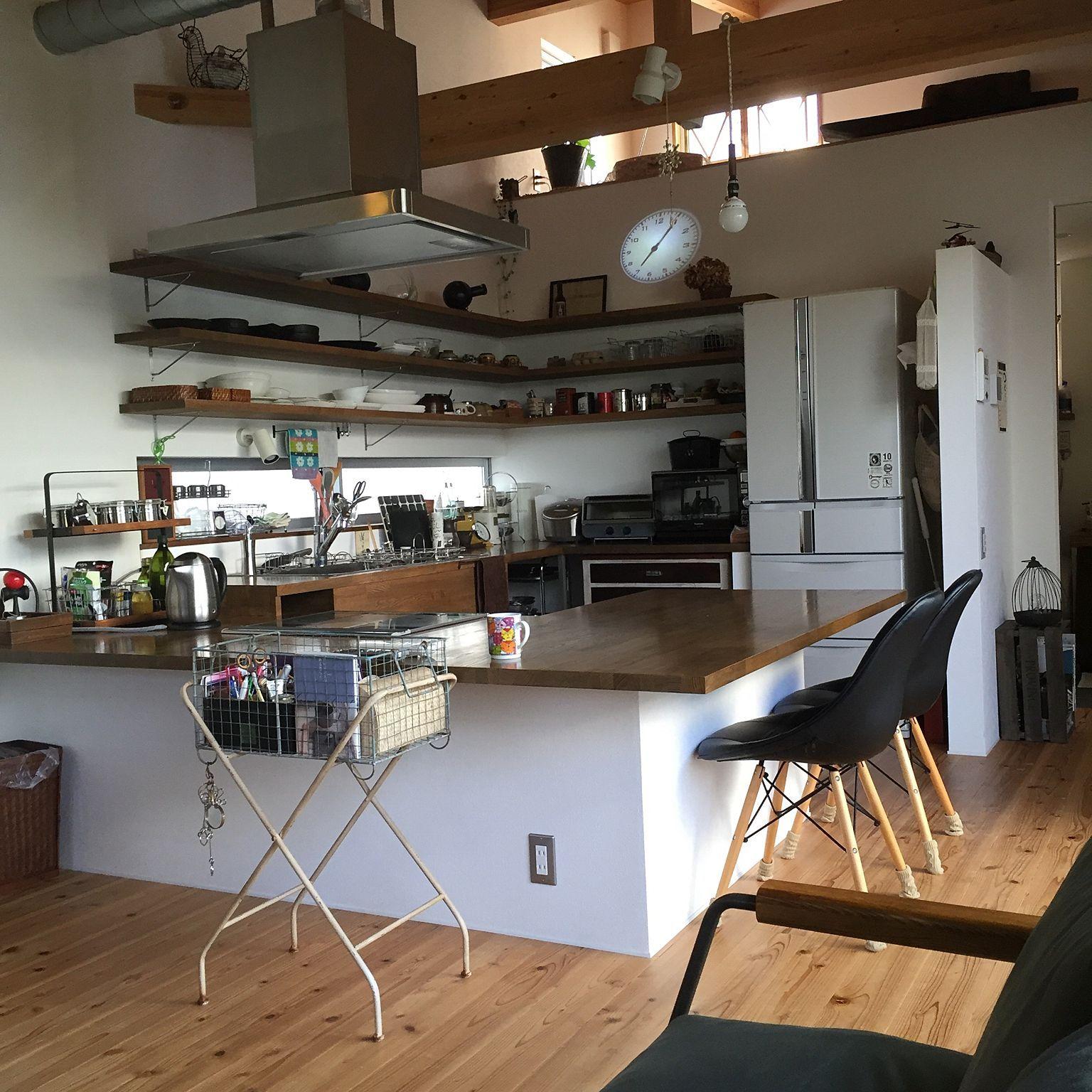 キッチン 雑貨 レトロ 窓枠 梁 などのインテリア実例 2016 04 17