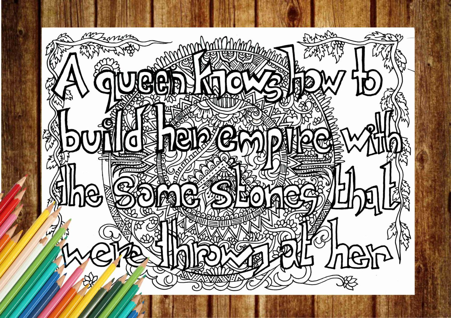 Quote Coloring Page Text Book Pages Printable Adult Art Therapy Instant Download Print