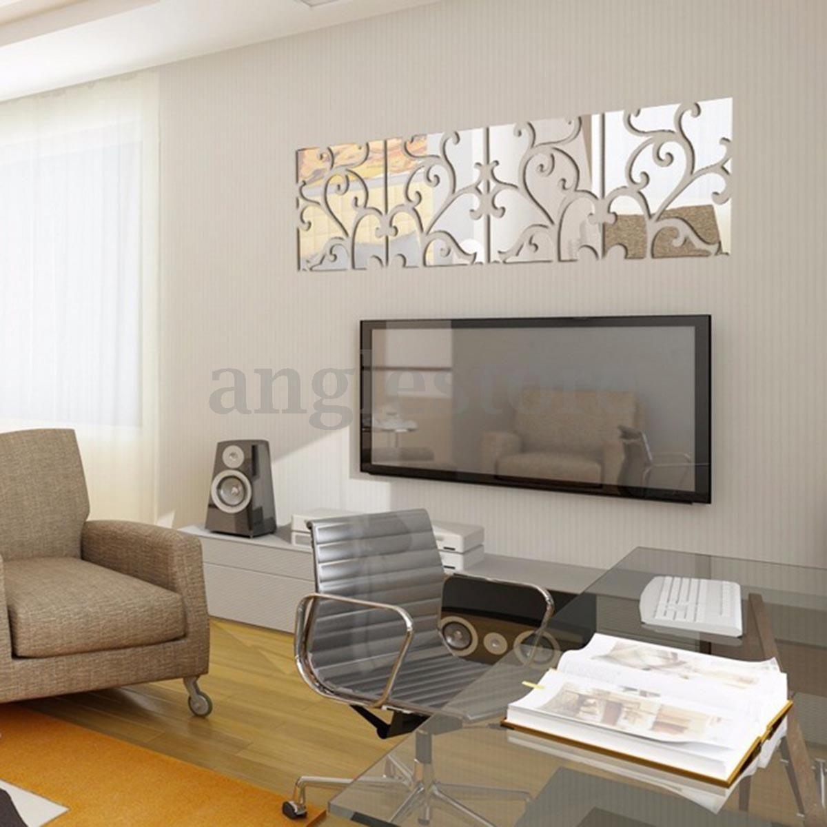 Pcs d vine mirror wall stickers art acrylic tile decal home decor