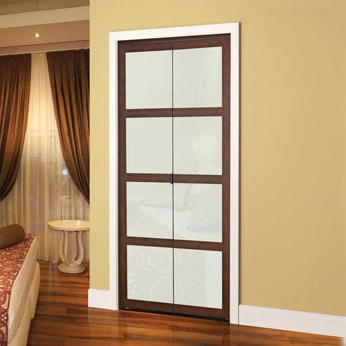Colonial Elegance Fusion Plus 30 X 80 1 2 Framed Frosted Glass Bi Fold Door At Menards Colonial Elega Glass Bifold Doors Glass Doors Interior Bifold Doors