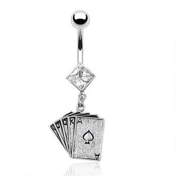 Jeweled Diamond Shaped Belly Ring With Dangling Poker Cards Belly