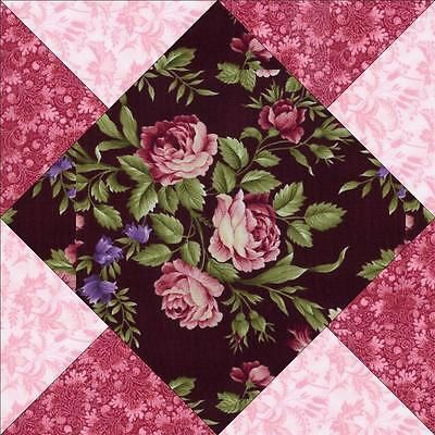 Shabby Purple Mauve Burgundy Violet Rose Floral Pre-cut Quilt Kit Block Fabric