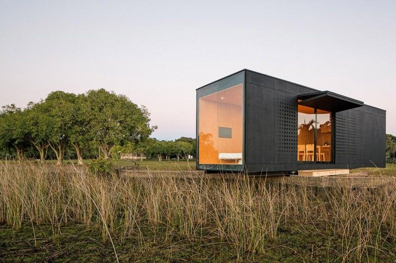 prefab cabin Maam and Studio Paralelo Cabin in the woods