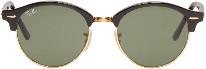c2e72c01e77c01 180€ Ray-Ban - Lunettes de soleil noires et dorées Clubround   mode ...