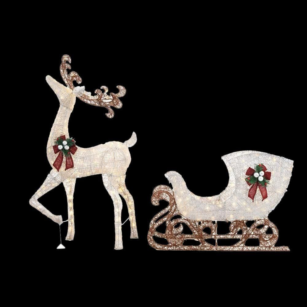 Home Accents Holiday 60 In. LED Lighted Standing Deer With 44 In. LED  Lighted Acrylic   The Home Depot