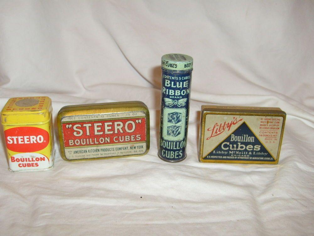 Vintage Blue Ribbon, Steero, Libby's  bouillon Cubes Spice Tins Kitchen display #BlueRibbonLibbysSteero