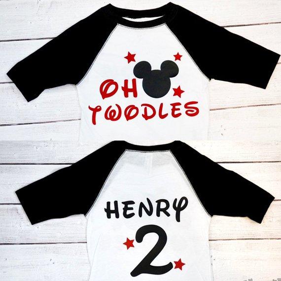 Twodles Mickey Mouse Twodles shirt Boy Birthday shirt Oh Girl birthday shirt Oh Twodles Minnie Mouse Twodles raglan