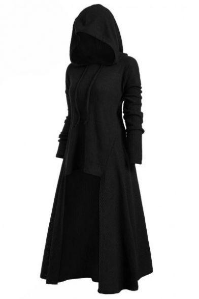 Loose Long Sleeve Plain High Low Asymmetrical Hood