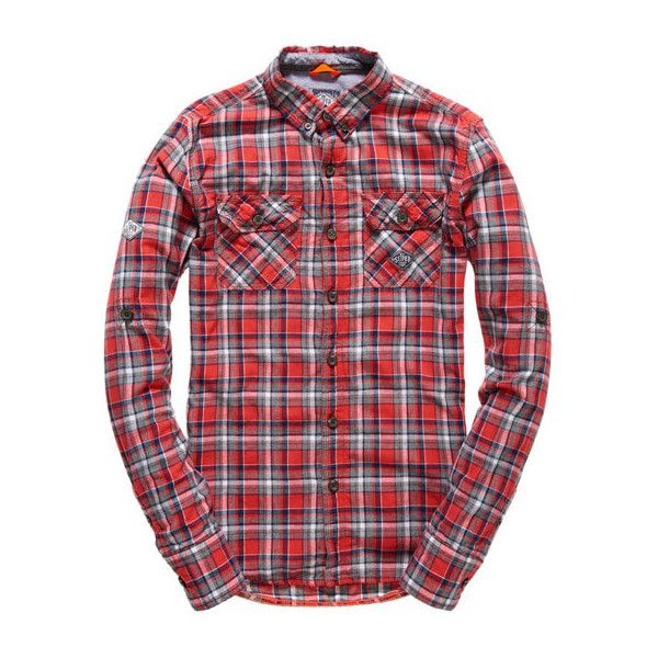 Superdry Grindlesawn Shirt ($65) ❤ liked on Polyvore featuring men's fashion, men's clothing, men's shirts, men's casual shirts, men, men wear and red