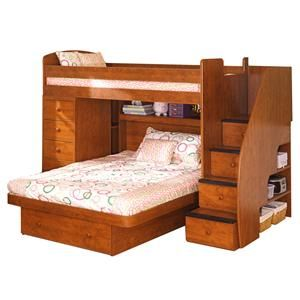 E Saver Twin Over Full Bunk Bed With Chest By Berg Darvin Furniture Orland Park Chicago Il