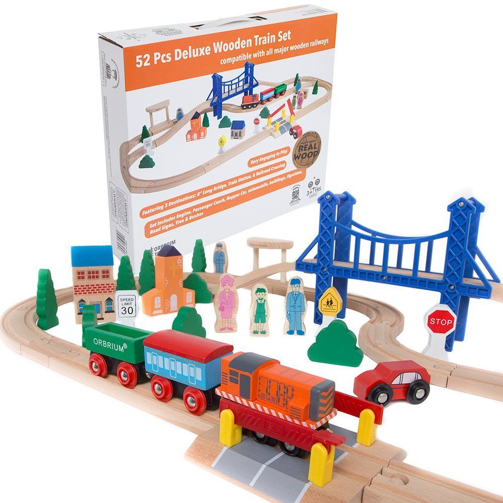 Amazon.com: Orbrium Toys 52 Pcs Deluxe Wooden Train Set with 3 ...