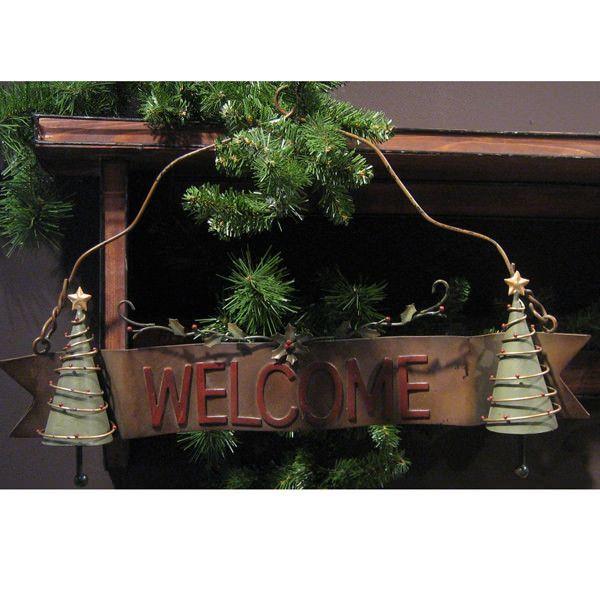 Isten hozott tábla – karácsonyfákkal
