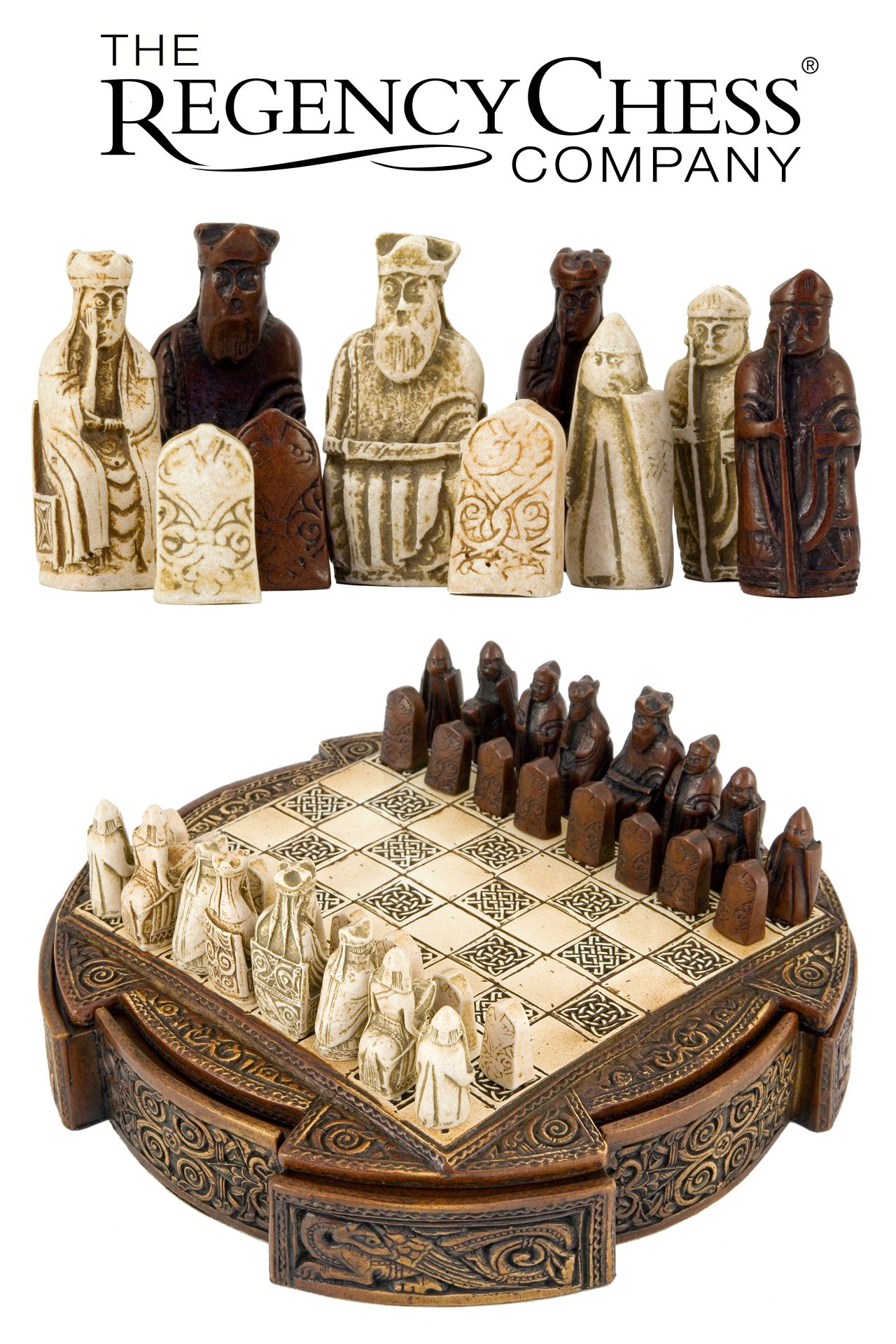 Isle Of Lewis Compact Celtic Chess Set 9 Inches Chess Set Chess Chess Set Unique