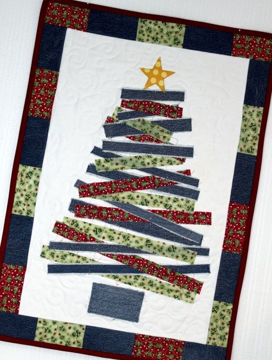 How cute is this wall hanging pattern just 999 or try to do it youre going to love blue jean christmas tree wall hanging by designer inventive denim via craftsy solutioingenieria Image collections