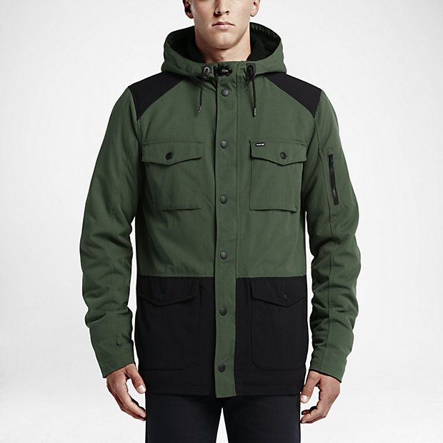 Mens Nike Hurley Windparka Camo Green Jacket