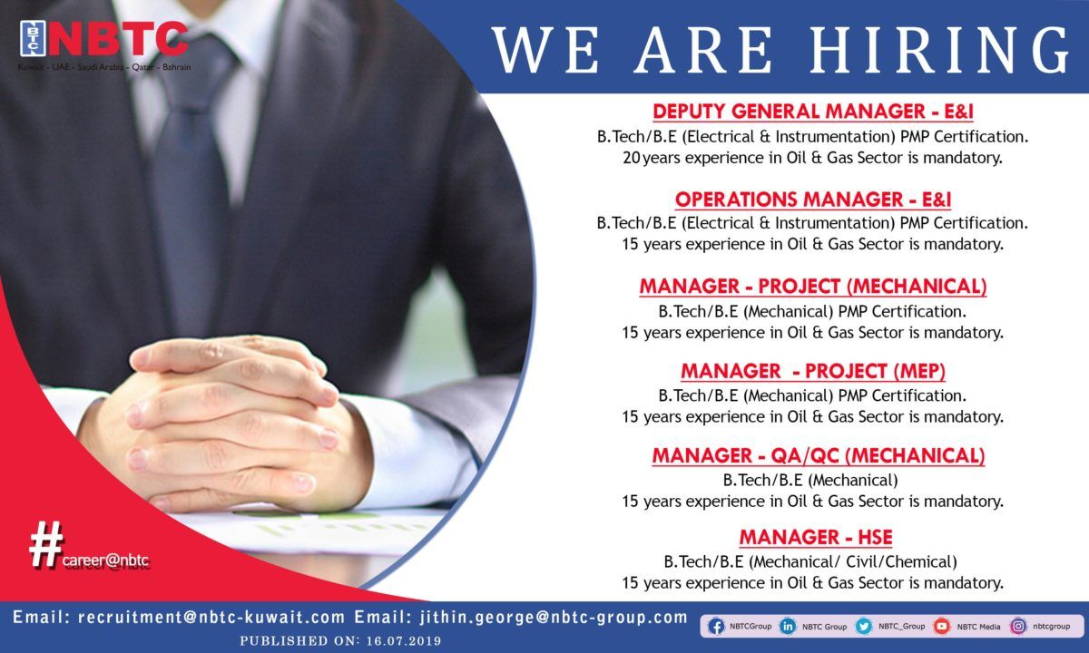 Urgently Required Multiple Managers In Nbtc Kuwait Jobs Iiq8