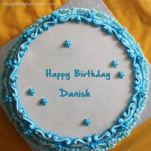 Blue Floral Birthday Cake For Danish With Name, Danish
