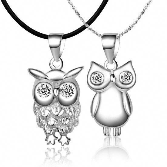 925 Sterling silver owl korean matching couple necklaces ...
