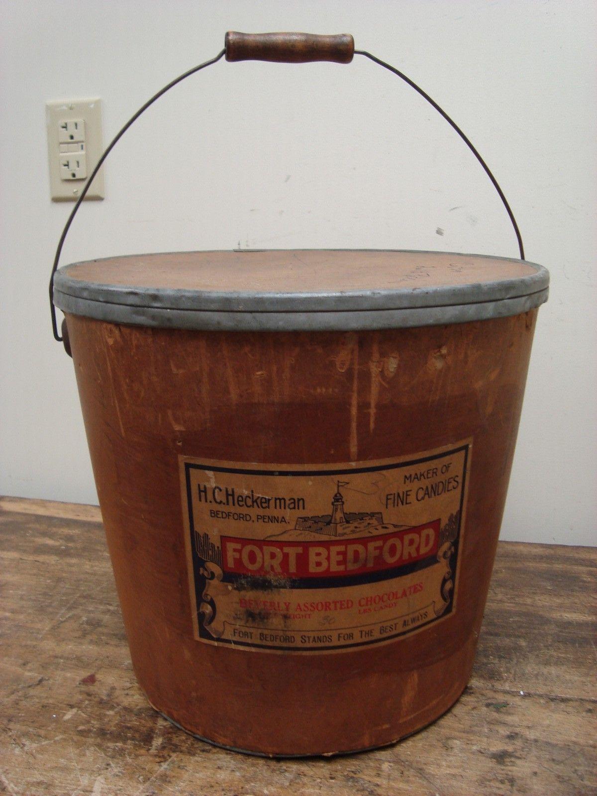 Antique Large Cardboard Bucket Fort Bedford H.C. Heckerman Candy ...
