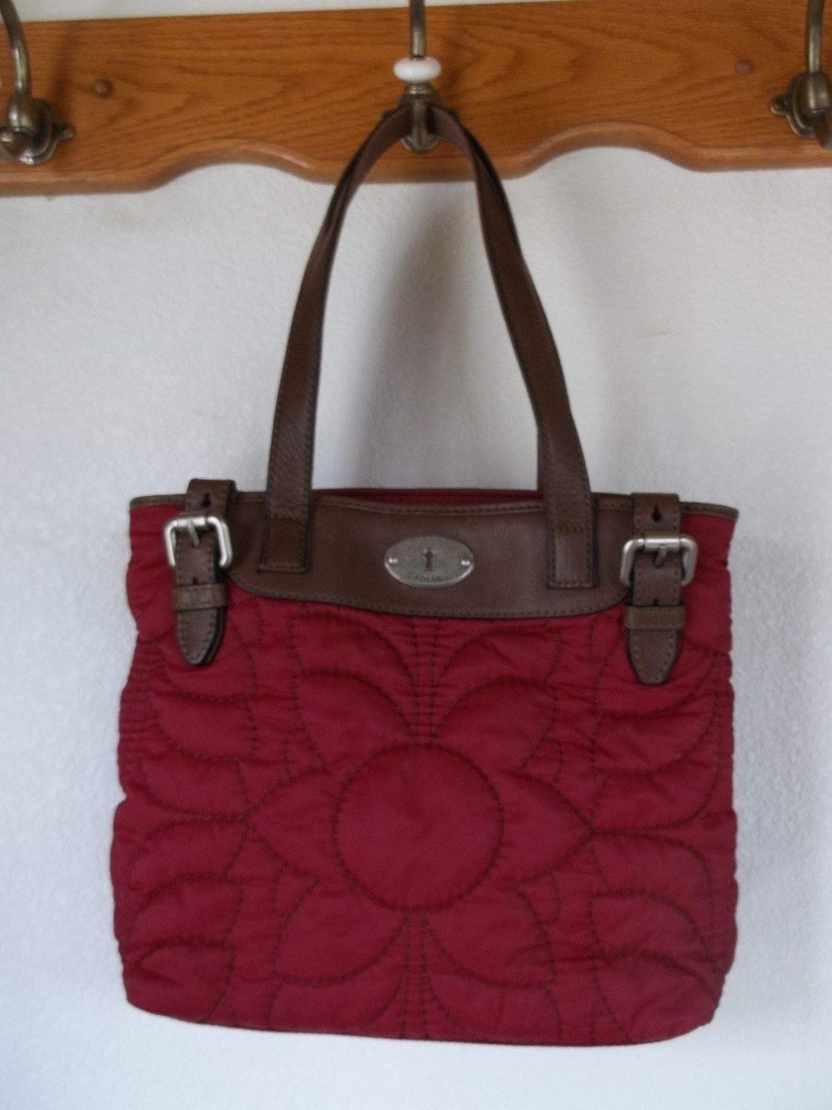 Fossil Key Per Quilted Red With Leather Tote Handbag Purse Ebay