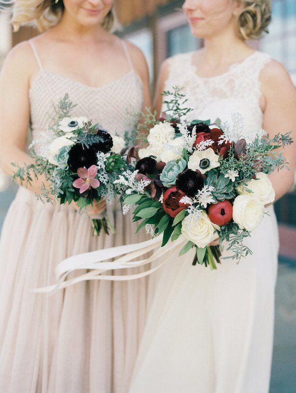 White + burgundy wedding bouquet idea - roses, anemones + greenery ...