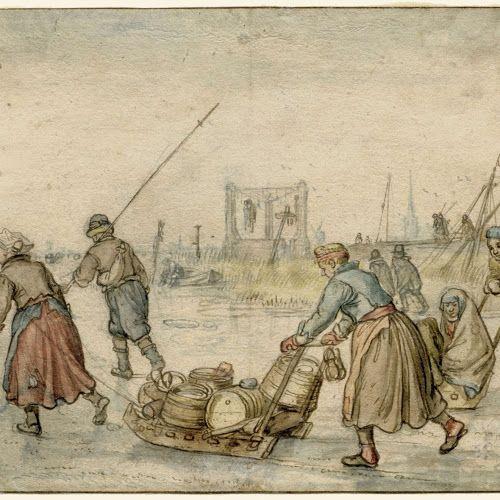 Landlieden met sleden op het ijs, Hendrick Avercamp, 1595 - 1634 - Rijksmuseum