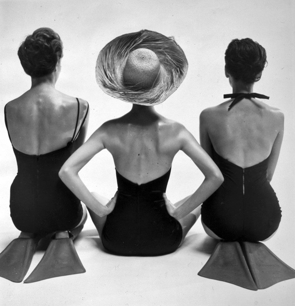 Models in swimsuits by fashion photographer Toni Frissell, 1950.