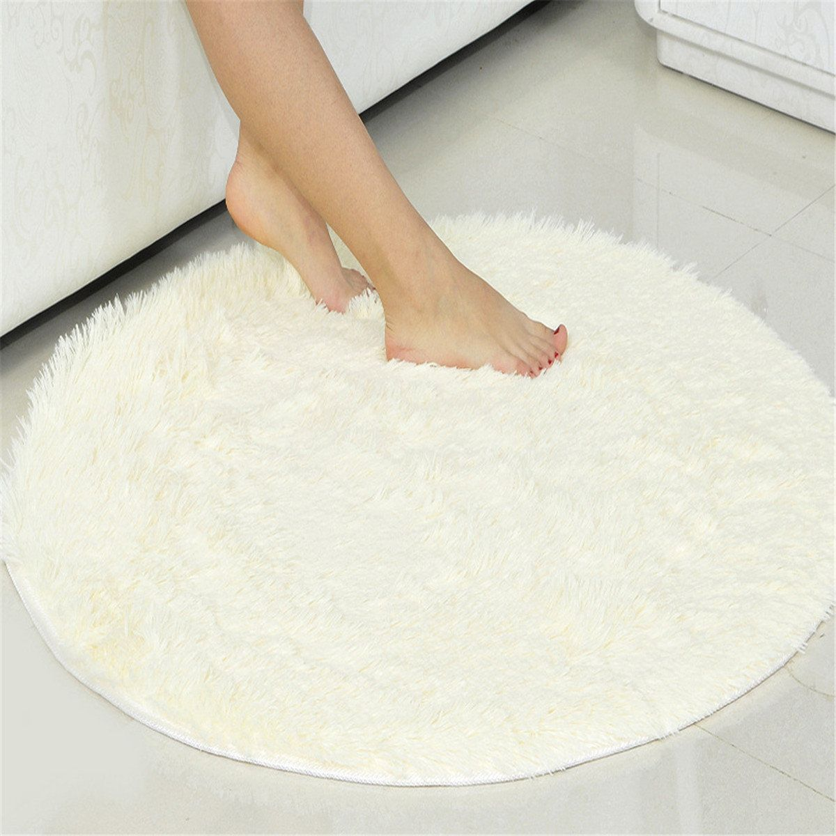 Anti Slip Mat Slaapkamer Round Fluffy Rugs Anti Skid Shaggy Area Rug Room Home Bedroom