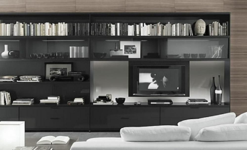 Asymmetrical And Busy Tv Unit Looks Great Modern Bookcase Design Minimalist Living Room Black Tv Cabinet