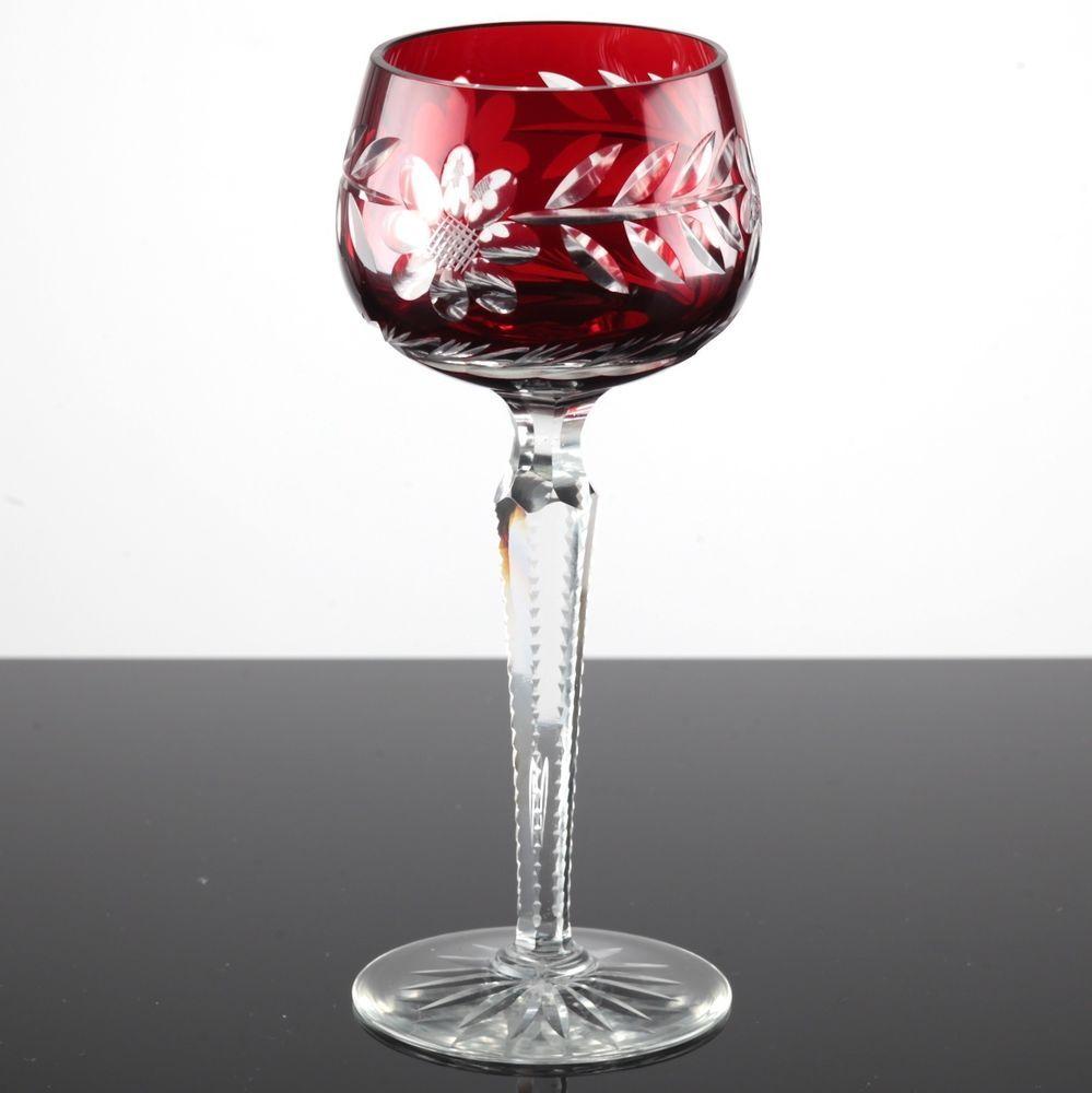 Weingläser Rot vintage weinglas überfang rot blume kristall glas schliff römer 19